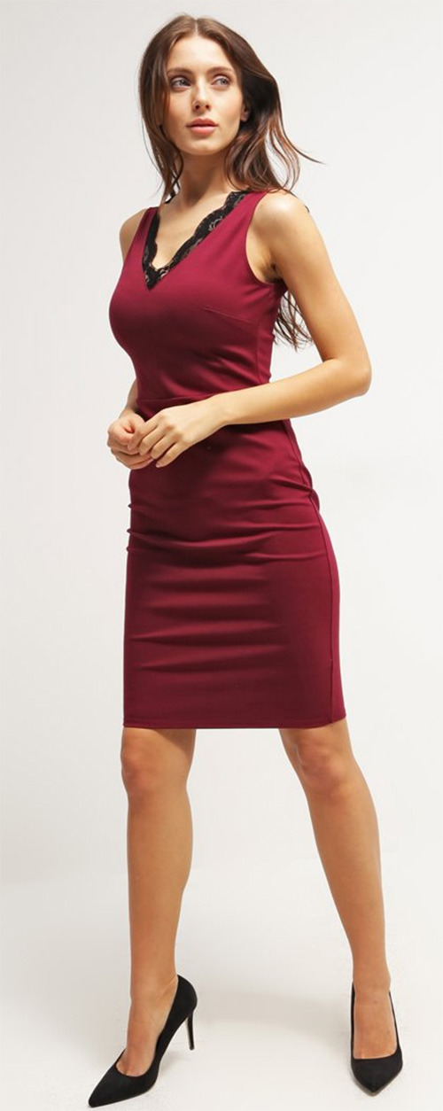Robe courte fourreau bordeaux Dorothy Perkins