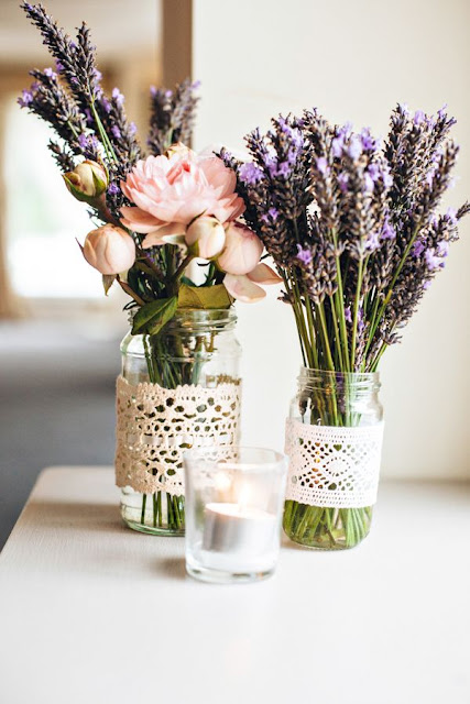 lavender and lace centerpieces