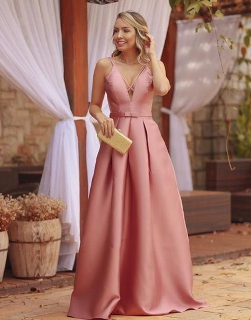 vestido rosa longo princesa
