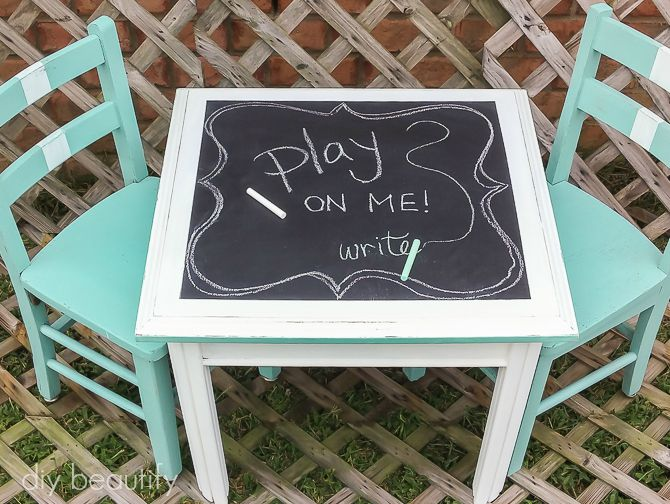 child's activity set with chalkboard painted table