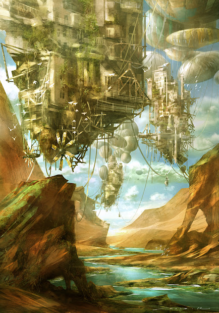 Floating Cities Steampunk Art