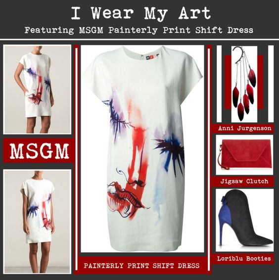 I Wear My Art Featuring MSGM Painterly Print Shift Dress www.toyastales.blogspot.com #ToyasTales