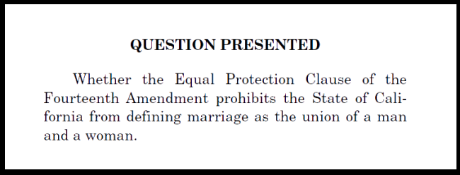 The question at issue in the Hollingsworth v. Perry marriage equality case.