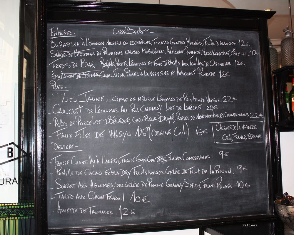 menu Beckett bar restaurant Paris