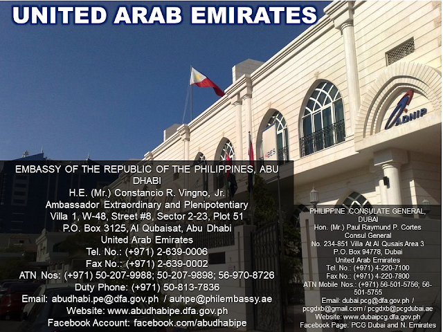 The Embassy is a piece of our country in a foreign territory where every Filipinos feel safe and secured. No matter where you are in the world, may you be an immigrant or an overseas Filipino worker (OFW) you need to know the locations of our embassies and consulates.  Information is power and here we are providing you all that you need to know the whereabouts of the Philippine embassies around the world and how to get in touch with them.  Advertisement         Sponsored Links                  EMBASSY OF THE REPUBLIC OF THE PHILIPPINES, BUENOS AIRES   Hon. (Ms.) Lolita B. Capco   Chargé d' Affaires, a.i.   Zapiola 1701, C1426AUI   Buenos Aires, Argentina   Tel. Nos.: (+54-11) 4554-4015; 4554-4856   Fax No.: (+54-11) 4554-9194   Duty Officer No.: (+549-11) 6700-2333   Consular Mobile Hotline No.: (+549-11) 6700-5111   Email: buenosaires.pe@dfa.gov.ph / pheba@fibertel.com.ar   Website: http://buenosairespe.dfa.gov.ph   Facebook: @PHinArgentina      EMBASSY OF THE REPUBLIC OF THE PHILIPPINES, CANBERRA   H.E. (Ms.) Minda Calaguian-Cruz   Ambassador Extraordinary and Plenipotentiary   1 Moonah Place, Yarralumla, Canberra, A.C.T. 2600   P.O. Box 3297, Manuka, A.C.T. 2603   Tel. Nos.: (+61-2) 6273-2535; 6273-2536   Fax No.: (+61-2) 6273-3984   Duty Officer No.: (+61) 4087-35383   Email: canberra.pe@dfa.gov.ph / canberra.pe@philembassy.org.au   Website: www.canberrape.dfa.gov.ph / www.philembassy.org.au     PHILIPPINE CONSULATE GENERAL, SYDNEY Hon. (Ms.) Melanie Rita B. Diano  Acting Head of Post  Philippine Centre, Level 1  27-33 Wentworth Avenue, Sydney NSW 2000  Tel. No.: (+61-2) 9262-7377  Fax No.: (+61-2) 9262-7355  Emergency No.: (+61) 415-426400  Email: sydney.pcg@dfa.gov.ph / communications@philippineconsulate.com.au  Website: www.sydneypcg.dfa.gov.ph / www.philippineconsulate.com.au    EMBASSY OF THE REPUBLIC OF THE PHILIPPINES, VIENNA  H.E. (Ms.) Maria Cleofe R. Natividad  Ambassador Extraordinary and Plenipotentiary  20th and 21st Floor, ARES Tower  Donau-City-Strasse 11, A-1220  Vienna, Austria  Tel. No.: (+43-1) 533-2401  Fax No.: (+43-1) 533-2401/24  Emergency No.: (+43-6991) 232-2034  Email: vienna.pe@dfa.gov.ph / vienna.pm@dfa.gov.ph / office@philippine-embassy.at  Website: www.viennape.dfa.gov.ph / www.philippine-embassy.at    EMBASSY OF THE REPUBLIC OF THE PHILIPPINES, MANAMA  H.E. (Mr.) Alfonso A. Ver  Ambassador Extraordinary and Plenipotentiary  Villa No. 939, Road No. 3220, Block 332, Bu-Asheera (Mahooz Area)  Manama, Kingdom of Bahrain  P.O. Box 26681, Manama , Kingdom of Bahrain  Tel. Nos.: (+973) 1772-1234 (4 lines)  Fax No.: (+973) 1772-0827  Duty Officer No.: (+973) 3995-3235  Email: manama.pe@dfa.gov.ph / manamape@batelco.com.bh  Website: www.manamape.dfa.gov.ph  Facebook: @PHLinBahrain    EMBASSY OF THE REPUBLIC OF THE PHILIPPINES, DHAKA  H.E. (Mr.) Vicente Vivencio T. Bandillo  Ambassador Extraordinary and Plenipotentiary  House No. 2F, NE(D), Road 73G, Gulshan 2  Dhaka, Bangladesh  Tel. Nos.: (+880) 29881-590 to 92  Fax No.: (+880) 29881-593  Hotline No.: (+880) 1915-477731  Email: dhaka.pe@dfa.gov.ph / philemb2@aknetbd.com  Website: www.dhakape.dfa.gov.ph  Facebook: @PHinBangladesh      EMBASSY OF THE REPUBLIC OF THE PHILIPPINES, BRUSSELS  Hon. (Mr.) Alan L. Deniega  Chargé d' Affaires, a.i.  297 Avenue Moliere, 1050  Brussels, Belgium  Tel Nos.: (+32-2) 34033-77 to 78  Fax No.: (+32-2) 345-6425  Duty Officer No.: (+32-4) 8860-9177  Email: brussels.pe@dfa.gov.ph; brusselspe@gmail.com  Website: www.brusselspe.dfa.gov.ph  Facebook: @PHinBelgium      EMBASSY OF THE REPUBLIC OF THE PHILIPPINES, BRASILIA     Hon. (Ms.) Marichu B. Mauro   Chargé d' Affaires, a.i.   SEN 801 - Asa Norte, Brasilia   DF CEP: 70800-910-Brazil   Tel. Nos.: (+55-61) 3224-8694; 3223-5143   Hotline No.: (+55-61) 9 9389-3042   Email: brasilia.pe@dfa.gov.ph / brasiliape@brturbo.com.br   Website: www.brasiliape.dfa.gov.ph / www.philembassybrasilia.org       EMBASSY OF THE REPUBLIC OF THE PHILIPPINES, BRUNEI   H.E. (Mr.) Meynardo LB. Montealegre   Ambassador Extraordinary and Plenipotentiary   Simpang 336, Diplomatic Enclave, Jalan Kebangsaan,   Bandar Seri Begawan, BA 2312, Brunei Darussalam   Tel. Nos.: (+673) 224-1465; 224-1466   Fax No.: (+673) 223-7707   Consular / ATN Hotline No.: (+673) 871-4881   OWWA 24-hour Hotline No.: (+673) 729-1315   POLO 24-hour Hotline No.: (+673) 729-1316   Email: brunei.pe@dfa.gov.ph / philippineembassy.brunei@gmail.com   Website: www.bruneipe.dfa.gov.ph / www.pebrunei.org     EMBASSY OF THE REPUBLIC OF THE PHILIPPINES, PHNOM PENH  H.E. (Mr.) Christopher B. Montero  Ambassador Extraordinary and Plenipotentiary  No. 182 Preah Norodom Blvd.  Sangkat Tonle Bassac, Khan Chamkarmon  Phnom Penh, Kingdom of Cambodia  P.O. Box 2018  Tel. Nos.: (+855-23) 222-303; 222-304  Fax No.: (+855-23) 215-143  Emergency No.: (+855) 98-888-771 | (+855) 98-888-529  Email: phnompenh.pe@dfa.gov.ph | phnompenhpe@ezecom.com.kh  Website: www.phnompenhpe.dfa.gov.ph  Facebook: @PHLinCambodia    EMBASSY OF THE REPUBLIC OF THE PHILIPINES, OTTAWA  H.E. (Ms.) Petronila P. Garcia   Ambassador Extraordinary and Plenipotentiary   30 Murray Street   Ottawa, Ontario, K1N 5M4, Canada   Tel. No.: (+1-613) 233-1121   Fax No.: (+1-613) 233-4165   Duty Officer No.: (+1-613) 614-2846   Email: ottawa.pe@dfa.gov.ph / embassyofphilippines@rogers.com  Website: www.ottawape.dfa.gov.ph  Facebook: @PHinCanada       EMBASSY OF THE REPUBLIC OF THE PHILIPPINES, SANTIAGO  Hon. (Mr.) Marcos A.S. Punsalang   Chargé d' Affaires, a.i.   Felix de Amesti No. 367   Las Condes, Santiago, Chile   Tel. Nos.: (+562) 2208-1313; 2208-1939   Emergency No.: (+569) 9427-20320   Hotline No.: (+562) 2228-1670   Email: santiago.pe@dfa.gov.ph / embassyfilipinas@gmail.com   Website: www.santiagope.dfa.gov.ph    Facebook: @PHinChile     EMBASSY OF THE REPUBLIC OF THE PHILIPPINES, BEIJING  H.E. (Mr.) Jose Santiago L. Sta. Romana   Ambassador Extraordinary and Plenipotentiary   23 Xiu Shui Bei Jie, Jianguomenwai, Beijing, 100600   People's Republic of China   Tel. Nos.: (+86-10) 6532-2518; 6532-2451; 6532-1872   Fax Nos.: (+86-10) 6532-3761; 6532-1921 (Consular Section)   Hotline Nos.: (+86) 1391-1180-495 (ATN); (+86) 1381-1120-334 (Duty Officer)   Email: beijing.pe@dfa.gov.ph | philippineembassy@yahoo.com   Website: www.beijingpe.dfa.gov.ph    PHILIPPINE CONSULATE GENERAL, CHONGQING  Hon. (Ms.) Olivia V. Palala   Consul General   Unit 2903-2905, 29th Floor, Metropolitan Oriental Plaza   68 Zourong Road, Yuzhong District, Chongqing 400010   People's Republic of China   Tel. Nos.: (+86-23) 6381-0832; 6380-9532   Telefax No.: (+86-23) 6372-9809   Hotline Nos.: (+86) 1361-7678-321; (+86) 1582-3972-513 (ATN)   (+86) 1580-8057-032 (Duty Officer)   Email: chongqing.pcg@dfa.gov.ph / chongqingpcg@gmail.com     Website: www.chongqingpcg.dfa.gov.ph      PHILIPPINE CONSULATE GENERAL, GUANGZHOU  Hon. (Mr.) Ajeet-Victor S. Panemanglor   Acting Head of Post   Room Nos. 706-712, Guangdong International Bldg.   339 Huanshi Dong Lu, Guangzhou, Guangdong, 510098   People's Republic of China   Tel. Nos.: (+86-20) 8331-1461; 8331-0996   Fax No.: (+86-20) 8333-0573   Hotline Nos.: (+86) 1392-4099-636 (Duty Officer); (+86) 1357-0008-063 (ATN)   Email: guangzhou.pcg@dfa.gov.ph / philcongenguangzhou@yahoo.com   Website: www.guangzhoupcg.dfa.gov.ph    PHILIPPINE CONSULATE GENERAL, XIAMEN  Hon. (Mr.) Julius Caesar A. Flores   Consul General   No. 2 and 3, Lingxiang Li, Lianhua Xin Cun   Siming District, Xiamen City 361009   People's Republic of China   Tel. Nos.: (+86-592) 513-0366; 513-0355   Fax No.: (+86-592) 553-0803   ATN Hotline No.: (+86) 1390-6036-614   Duty Officer No.: (+86) 1890-5921-595   Email: xiamen.pcg@dfa.gov.ph / xiamenpc@yahoo.com   Website: xiamenpcg.dfa.gov.ph    PHILIPPINE CONSULATE GENERAL, MACAU  Hon. (Ms.) Lilybeth R. Deapera   Consul General   Units 1404-1406, 14/F AIA Tower   Avenida Comercial de Macau   Macau SAR   Tel. No.: (+853) 2875-7111   Fax No.: (+853) 2875-7227   Hotline Nos.:(+853) 6698-1900 (ATN); 6687-2509 (POLO & OWWA)   Email: macau.pcg@dfa.gov.ph / pcgmacao@gmail.com   Website: www.macaupcg.dfa.gov.ph  Facebook: @PHinMacau    PHILIPPINE CONSULATE GENERAL, SHANGHAI  Hon. (Mr.) Wilfredo R. Cuyugan   Consul General   Suite 301 Metrobank Plaza,   1160 West Yan'An Road, Changning District, Shanghai 200052   People's Republic of China   Tel. No.: (+86-21) 6281-8020   Fax No.: (+86-21) 6281-8023   Hotline No.: (+86) 1391 747-7112   Email: shanghai.pcg@dfa.gov.ph / shanghaipcg@hotmail.com   Website: www.shanghaipcg.dfa.gov.ph    PHILIPPINE CONSULATE GENERAL, HONG KONG  Hon. (Mr.) Antonio A. Morales   Consul General   14th Floor, United Centre, 95 Queensway, Admiralty   Hong Kong SAR   Tel. No.: (+852) 2823-8501   Fax Nos.: (+852) 2866-9885; 2866-8559   Hotline Nos.: (+852) 915-54023 (Consular); (+852) 552-91880 (Labor)   (+852) 634-59324 (OWWA)   Email: hongkong.pcg@dfa.gov.ph / hongkongphilcongen@gmail.com   Website: www.hongkongpcg.dfa.gov.ph Facebook: @PHLinHK     EMBASSY OF THE REPUBLIC OF THE PHILIPPINES, PRAGUE  Hon. (Mr.) Juan E. Dayang, Jr.  Chargé d' Affaires, a.i.  Senovazne Namesti 8, Prague 1, 110 00,  Czech Republic  Tel. Nos.: (+420) 224-216397; 224-216400; 224-216385  Fax No.: (+420) 224-216390  Duty Officer No.: (+420) 607-850-764  Email: prague.pe@dfa.gov.ph / praguepe@gmail.com   Website: www.praguepe.dfa.gov.ph  Facebook: @PHinCzechRepublic     EMBASSY OF THE REPUBLIC OF THE PHILIPPINES, CAIRO  H.E. (Mr.) Leslie J. Baja  Ambassador Extraordinary and Plenipotentiary  Road 200, Villa 28 Degla, Maadi, Cairo  Arab Republic of Egypt  Tel. Nos.: (+20-2) 2521-3045; 2521-3062; 2521-3064; 2521-3065  Fax No.: (+20-2) 2521- 3048  ATN No.: (+20-122) 743-6472  Duty Phone No.: (+20-128) 895-1110  Email: cairo.pe@dfa.gov.ph / info@philembassycairo.org  Website: www.cairope.dfa.gov.ph  Facebook: @PHinEgypt      EMBASSY OF THE REPUBLIC OF THE PHILIPPINES, PARIS  H.E. (Ms.) Ma. Theresa P. Lazaro  Ambassador Extraordinary and Plenipotentiary  4 Hameau de Boulainvilliers, 45 rue du Ranelagh  75016 Paris, France  Tel Nos.: (+33-1) 4414-5700; 4414-5701/12 (Consular)  Fax No.: (+33-1) 464-75600  Emergency No.: (+33-6) 205-92515  Email: paris.pe@dfa.gov.ph | parispe.dfa@gmail.com  Website: www.parispe.dfa.gov.ph  Facebook: @PHinFrance      EMBASSY OF THE REPUBLIC OF THE PHILIPPINES, BERLIN  Hon. (Ms.) Lillibeth V. Pono  Chargé d' Affaires, a.i.  2nd Floor, Haus Cumberland  Kurfürstendamm 194, 10707 Berlin  Federal Republic of Germany  Tel. No.: (+49-30) 864-950022  Fax No.: (+49-30) 873-2551  Duty Officer No.: (+49) 173-521-5703  Email: berlin.pe@dfa.gov.ph / info@philippine-embassy.de  Website: www.berlinpe.dfa.gov.ph / www.philippine-embassy.de  Facebook: @PHinGermany      EMBASSY OF THE REPUBLIC OF THE PHILIPPINES, ATHENS  Hon. (Ms.) Rosario P. Lemque  Chargé d' Affaires, a.i.  26 Antheon Street, Paleo Psychico 154-52  Athens, Greece  Tel. Nos. (+30-210) 672-1883; 672-1837  Fax No. (+30-210) 672-1872  Duty Officer No. (+30) 697-4319-539  Email: athens.pe@dfa.gov.ph / phembathens@gmail.com  Website: www.athenspe.dfa.gov.ph  Facebook: @PHLinGreece      EMBASSY OF THE REPUBLIC OF THE PHILIPPINES, BUDAPEST  H.E. (Ms.) Maria Fe T. Pangilinan  Ambassador Extraordinary and Plenipotentiary  1026 Budapest, Gabor Aron utca 58  Hungary  Tel. No.: (+36-1) 391-4300  Fax No.: (+36-1) 200-5528  Duty Officer No.: (+36) 30-202-1760  Email: budapest.pe@dfa.gov.ph / phbuda@philembassy.hu  Website: www.budapestpe.dfa.gov.ph  Facebook: @PHLinHungary      EMBASSY OF THE REPUBLIC OF THE PHILIPPINES, NEW DELHI  H.E. (Ms.) Ma. Teresita C. Daza  Ambassador Extraordinary and Plenipotentiary  50-N, Nyaya Marg, Chanakyapuri,  New Delhi 110021, India  Tel. Nos.: (+91-11) 2688-9091; 2410-1120  Fax No.: (+91-11) 2687-6401  Duty Officer No.: (+91) 99-1079-7014  Email: newdelhi.pe@dfa.gov.ph / philippineembassynewdelhi@gmail.com  Website: www.newdelhipe.dfa.gov.ph       EMBASSY OF THE REPUBLIC OF THE PHILIPPINES, JAKARTA  Hon. (Ms.) Shirlene C. Mananquil  Chargé d' Affaires, a.i  Jl. Imam Bonjol No. 8 Menteng, Jakarta Pusat 10310  Indonesia  Tel. No.: (+62-21) 310-0334  Fax No.: (+62-21) 315-1167  Emergency No.: (+62) 878-8537-3275  Email : jakarta.pe@dfa.gov.ph / jakartape@gmail.com  Website: www.jakartape.dfa.gov.ph / www.philembjkt.com  Facebook: @PHLinIndonesia    PHILIPPINE CONSULATE GENERAL, MANADO  Hon. (Mr.) Oscar G. Orcine  Consul General  Jalan 17 Augustus No. 30A, TanjungBatu, Manado  North Sulawesi, Indonesia 95119  Tel Nos.: (+62-431) 861-178; 856-379  Fax No.: (+62-431) 862-365  Hotline Nos.: (+62) 811-431-130 (ATN); (+62) 811-432-1132 (Duty Officer)  Email : manado.pcg@dfa.gov.ph / fsp.manadopcg@gmail.com  Website: www.manadopcg.dfa.gov.ph      EMBASSY OF THE REPUBLIC OF THE PHILIPPINES, TOKYO  H.E. (Mr.) Jose C. Laurel  Ambassador Extraordinary and Plenipotentiary  5-15-5, Roppongi Minato-ku  Tokyo 106-8537, Japan  Tel. Nos.: (+81-3) 5562-1600 / 1601 / 1602 / 1604 / 1605  Fax No.: (+81-3) 5562-1603  Emergency No.: (+8180) 4928-7979 (ATN)  Email: tokyo.pe@dfa.gov.ph / phjp@gol.com  Website: www.tokyope.dfa.gov.ph / www.tokyo.philembassy.net  Facebook:@PHLinJapan    PHILIPPINE CONSULATE GENERAL, OSAKA  Hon. (Ms.) Maria Aileen H. Bugarin  Consul General  24/F Twin 21 MID Tower, 2-1-61 Shiromi, Chuo-ku  Osaka, Japan  Tel. No.: (+81-6) 6910-7999  Fax No.: (+81-6) 6910-8750  Emergency No.: (+81-90) 4036-7984  Email: osaka.pcg@dfa.gov.ph; queries.osakapcg@gmail.com  Website: www.osakapcg.dfa.gov.ph      EMBASSY OF THE REPUBLIC OF THE PHILIPPINES, AMMAN  H.E. (Ms.) Junever M. Mahilum-West  Ambassador Extraordinary and Plenipotentiary  Villa No. 1 and No. 12 Al Halab Street corner  Al Suleiman Al Bilbeesi Street, Abdoun  Amman, Jordan  Tel Nos.: (+962-6) 592-3748; 592-9402; 592-9403  Fax No.: (+962-6) 5923-744  ATN Nos.: (+962) 7790-77775; 7790-77776; 7790-77778  Mobile Hotline No.: (+962) 7779-88818  Email: amman.pe@dfa.gov.ph / ammanpe@orange.jo / pe.amman@gmail.com  Website: www.ammanpe.dfa.gov.ph / www.philembassy-amman.net  Facebook: @ammanpe      EMBASSY OF THE REPUBLIC OF THE PHILIPPINES, NAIROBI  H.E. (Mr.) Uriel Norman R. Garibay  Ambassador Extraordinary and Plenipotentiary  P.O. Box 47941-00100, State House Road  Nairobi, Kenya  Duty Office No.: (+254) 736-310-049  Email: nairobi.pe@dfa.gov.ph / pe.nairobi@gmail.com  Website: www.nairobipe.dfa.gov.ph  Facebook:@PHLinKenya      EMBASSY OF THE REPUBLIC OF THE PHILIPPINES, SEOUL  H.E. (Mr.) Raul S. Hernandez  Ambassador Extraordinary and Plenipotentiary  80 Hoenamu-ro, Yongsan-Gu, Seoul  Republic of Korea 04346  Tel. Nos.: (+82-2) 796-7387 to 89  Fax No.: (+82-2) 796-0827  Hotline Nos.: (+82-10) 9365-2312 (Emergency); (+82-10) 9263-8119 (ATN)  (+82-10) 9385-0535 (Passport)  Email: seoul.pe@dfa.gov.ph / seoulpe@philembassy-seoul.com  Website: www.seoulpe.dfa.gov.ph / www.philembassy-seoul.com  Facebook: @PHinKorea        EMBASSY OF THE REPUBLIC OF THE PHILIPPINES, KUWAIT  H.E. (Mr.) Renato Pedro O. Villa  Ambassador Extraordinary and Plenipotentiary  Block 1, Street 101, Villa 817, corner Abdullah Abdul Azis Al Humaidi Street,  Al Siddeeq Area, South Surra  State of Kuwait  Tel. Nos.: (+965) 2252-8422; 2251-1806; 2251-1807  Fax No.: (+965) 2251-1805  Hotline Nos.: (+965) 6518-4433; 6990-2188 (Consular)  (+965) 9800-5115; 6500-2612; 6990-2264 (ATN)  Email: kuwait.pe@dfa.gov.ph / kuwaitpe@philembassykuwait.gov.kw / kuwaitpe@gmail.com  Website: www.kuwaitpe.dfa.gov.ph / www.philembassykuwait.gov.kw  Facebook: @PEinKuwait      EMBASSY OF THE REPUBLIC OF THE PHILIPPINES, VIENTIANE  H.E. (Ms.) Belinda M. Ante  Ambassador Extraordinary and Plenipotentiary  Phontan Rd., 071 Saphantong Neua  Sisattanak District, Vientiane  Lao People's Democratic Republic  P.O. Box 2415  Tel Nos.: (+856-21) 452-490; 452-491  Fax No. (+856-21) 452-493  Duty Phone: (+856-20) 555-35878  Email: vientiane.pe@dfa.gov.ph / pelaopdr@laotel.com  Website: www.vientianepe.dfa.gov.ph       EMBASSY OF THE REPUBLIC OF THE PHILIPPINES, BEIRUT  H.E. (Ms.) Bernardita L. Catalla  Ambassador Extraordinary and Plenipotentiary  W Building, Rue Mar Geries, Hadath, Baabda  Mount Lebanon, Lebanon  Tel. No.: (+961-5) 953-522  Fax No.: (+961-5) 953-521  Hotline No.: (+961-3) 859-430  Email: beirut.pe@dfa.gov.ph  Website: www.beirutpe.dfa.gov.ph  Facebook: @PHLinLebanon      EMBASSY OF THE REPUBLIC OF THE PHILIPPINES, TRIPOLI  Hon. (Mr.) Mardomel Celo D. Melicor  Chargé d' Affaires, e.p.  Km. 7 Gargaresh Road, Abu Nawas  Tripoli, Libya  P.O. Box 12508, Tripoli, Libya  Hotline No.: (+218) 91 824-4208  POLO Hotline No.: (+218) 92 48-5473  Email: tripoli.pe@dfa.gov.ph / owwatripoli2016@gmail.com(POLO)  Website: www.tripolipe.dfa.gov.ph  Facebook: @PHinLibya      MBASSY OF THE REPUBLIC OF THE PHILIPPINES, KUALA LUMPUR  H.E. (Mr.) Charles C. Jose  Ambassador Extraordinary and Plenipotentiary  No. 1 Changkat Kia Peng  50450 Kuala Lumpur, Malaysia  Tel. Nos. (+60-3) 2148-4233; 2148-4654; 2148-4682; 2148-6528; 2148-6538  Fax No.: (+60-3) 2148-3576  Duty Officer No.: (+6017) 347-5487  Email: kualalumpur.pe@dfa.gov.ph / webmaster@philembassykl.org.my  Website: www.kualalumpurpe.dfa.gov.ph / www.philembassykl.org.my  Facebook: @PHinMalaysia      EMBASSY OF THE REPUBLIC OF THE PHILIPPINES, MEXICO  H.E. (Mr.) Eduardo Jose A. De Vega  Ambassador Extraordinary and Plenipotentiary  Thiers 111 (corner Couvier 55),  Colonia Anzures, Delegacion Miguel Hidalgo  C.P. 11590, Mexico City Mexico  Tel. Nos.: (+52-55) 5131-8225; 5255-1438; 5545-9716; 5545-0127  Fax No.: (+52-55) 5131-8268  Duty Officer No.: (+52-155) 2771-3776  Email : mexico.pe@dfa.gov.ph / ambamexi@gmail.com / mexicope.com@gmail.com  Website: www.mexicope.dfa.gov.ph  Facebook: @PHinMexico    EMBASSY OF THE REPUBLIC OF THE PHILIPPINES, YANGON  H.E. (Mr.) Eduardo E. Kapunan, Jr.  Ambassador Extraordinary and Plenipotentiary  No. 7 Gandamar Street, Yankin Township  Yangon, Republic of the Union of Myanmar  Tel. Nos.: (+95-1) 558-150 to 153  Fax No.: (+95-1) 558-154  Duty Officer No.: (+95-9) 2507-65938  Email: yangon.pe@dfa.gov.ph / p.e.yangon@gmail.com  Website: www.yangonpe.dfa.gov.ph  Facebook: @PHinMyanmar    EMBASSY OF THE REPUBLIC OF THE PHILIPPINES, THE HAGUE  H.E. (Mr.) Jaime Victor B. Ledda  Ambassador Extraordinary and Plenipotentiary  Laan Copes Van Cattenburch 125  2585 EZ, The Hague, Netherlands  Tel. No.: (+31) 70360-4820  Fax No.: (+31) 70356-0030  Emergency No.: (+31)(0) 65261-1079  Email: thehague.pe@dfa.gov.ph / thehague@philembassy.nl  Website: thehaguepe.dfa.gov.ph  Facebook: @PHinTheNetherlands    EMBASSY OF THE REPUBLIC OF THE PHILIPPINES, WELLINGTON  H.E. (Mr.) Jesus S. Domingo  Ambassador Extraordinary and Plenipotentiary  50 Hobson Street, Thorndon, 6011 P.O. Box 120-42, Wellington 6144, New Zealand  Tel. Nos.: (+64-4) 890-3741; 890-3742; 890-3744  Fax No.: (+64-4) 890-3740 Hotline No.: (+64) 220-746-517  Email: wellington.pe@dfa.gov.ph / embassy@wellington-pe.co.nz  Website: wellingtonpe.dfa.gov.ph / www.philembassy.org.nz  Facebook: @PHLinNZ    EMBASSY OF THE REPUBLIC OF THE PHILIPPINES, ABUJA  H.E. (Ms.) Shirley Ho-Vicario  Ambassador Extraordinary and Plenipotentiary  No. 453-B, A Close, 14 Street, Off 2nd Avenue  Gwarinpa 900108, Abuja FCT  Federal Republic of Nigeria  Consular No.: (+234) 81025-41252  ATN No.:  (+234) 90532-44916  Email: abuja.pe@dfa.gov.ph / Philemb_abuja@yahoo.co.uk  Website: www.abujape.dfa.gov.ph  Facebook: @PHLinNigeria      EMBASSY OF THE REPUBLIC OF THE PHILIPPINES, OSLO  H.E. (Ms.) Jocelyn S. Batoon-Garcia  Ambassador Extraordinary and Plenipotentiary  4th Floor, Nedre Vollgate 4, 0158  Oslo, Norway  Tel. No.: (+47) 224-00900  Duty Officer No.: (+47) 9500-1072  Email : oslo.pe@dfa.gov.ph / ambassador@philembassy.no  Website: www.oslope.dfa.gov.ph / www.philembassy.no    EMBASSY OF THE REPUBLIC OF THE PHILIPPINES, MUSCAT  H.E. (Mr.) Narciso T. Castañeda  Ambassador Extraordinary and Plenipotentiary  Bldg. No. 1041/1043, Way No. 3015, Al Kharijiya St., Shatti Al Qurum  Muscat, Sultanate of Oman  P.O. Box No. 420 Madinat Qaboos PC 115  Muscat, Sultanate of Oman  Tel. Nos.: (+968) 2460-5140; 2460-5143; 2460-5335  Fax No.: (+968) 2460-5176  Hotline Nos.: (+968) 9988-5073 (ATN); (+968) 9988-7935 (Duty Officer)  Email: muscat.pe@dfa.gov.ph / muscatpe@omantel.net.om  Website: www.muscatpe.dfa.gov.ph  Facebook: @PHLinOman    EMBASSY OF THE REPUBLIC OF THE PHILIPPINES, ISLAMABAD  H.E. (Mr.) Daniel R. Espiritu  Ambassador Extraordinary and Plenipotentiary  Zhou-Enlai Avenue, Plot Nos. 3 to 5  Diplomatic Enclave, G-5  Islamabad, Pakistan  Tel. No.: (+92-51) 8487-511  Fax No.: (+92-51) 8487-513  Email: islamabad.pe@dfa.gov.ph / isdpe.comsats@comsats.com.pk  Website: www.islamabadpe.dfa.gov.ph /www.isdpe.com.pk  Facebook: @PHinPakistan    EMBASSY OF THE REPUBLIC OF THE PHILIPPINES, PORT MORESBY  H.E. (Mr.) Bienvenido V. Tejano  Ambassador Extraordinary and Plenipotentiary  Lot 1, Section 440, Islander Village, Hohola, NCD  Papua New Guinea  P.O. Box 5916, Boroko, NCD, PNG  Tel. Nos.: (+675) 325-6414; 325-6577  Fax No.: (+675) 323-1803  Email: portmoresby.pe@dfa.gov.ph / pompe@datec.net.pg  Website: www.portmoresbype.dfa.gov.ph     EMBASSY OF THE REPUBLIC OF THE PHILIPPINES, WARSAW  H.E. (Ms.) Patricia Ann V. Paez  Ambassador Extraordinary and Plenipotentiary  Ul. Lentza 11, 02-956 Warsaw, Poland  Tel. No.: (+48-22) 490-2025  Fax No.: (+48-22) 651-5949  Duty Officer No.: (+48) 694-736-488  Email: warsaw.pe@dfa.gov.ph / pe.warsaw@gmail.com  Website: www.warsawpe.dfa.gov.ph    EMBASSY OF THE REPUBLIC OF THE PHILIPPINES, LISBON  H.E. (Ms.) Celia Anna M. Feria  Ambassador Extraordinary and Plenipotentiary  Rua Barata Salgueiro 30–3 andar  1250-044 Lisbon, Portugal  Tel Nos.: (+351) 216-083-274; 216-083-276; 216-083-277  Fax No.: (+351) 216-083-251  Duty Officer No.: (+351) 925-410-257  Hotline No.: (+351) 965-062-839 (ATN)  E-mail: lisbon.pe@dfa.gov.ph / lisbon.pe@gmail.com  Website:  www.lisbonpe.dfa.gov.ph    EMBASSY OF THE REPUBLIC OF THE PHILIPPINES, DOHA  H.E. (Mr.) Alan L. Timbayan  Ambassador Extraordinary and Plenipotentiary  St. No. 860, Zone 68, Jelaiah Area  Doha, State of Qatar  P.O. Box No. 24900  Tel. No.: (+974) 4483-1585  Fax No.: (+974) 4483-1595  ATN Nos.: (+974) 4483-2560; 6644-6303  Email: doha.pe@dfa.gov.ph / dohape@yahoo.com  Website: www.dohape.dfa.gov.ph     EMBASSY OF THE REPUBLIC OF THE PHILIPPINES, MOSCOW  H.E. (Mr.) Carlos D. Sorreta  Ambassador Extraordinary and Plenipotentiary  Karmanitskiy Pereulok 6/8, 121099  Moscow, Russian Federation  Tel. Nos.: (+7-499) 241-0563; 241-0564; 241-0565  Fax No.: (+7-499) 241-2630  Hotline No.: (+7-906) 7382-538  Email: moscow.pe@dfa.gov.ph / moscowpe@mailfrom.ru  Website: www.moscowpe.dfa.gov.ph  Facebook: Philembassy Moscow    EMBASSY OF THE REPUBLIC OF THE PHILIPPINES, RIYADH  H.E. (Mr.) Adnan V. Alonto  Ambassador Extraordinary and Plenipotentiary  C3 Radaif Street, Diplomatic Quarter  Riyadh, Kingdom of Saudi Arabia  P.O. Box 94366, Riyadh 11693  Tel. Nos.: (+966-11) 488-3615; 482-0507; 482-1802  Fax No.: (+966-11) 488-3945  Hotline Nos.: (+966) 5516-99548 (POLO); (+966) 5012-69742 (POLO ERO)  (+966) 5698-93301 (ATN); (+966-11) 4823-559 (Duty Officer)  Email: riyadh.pe@dfa.gov.ph / rype@riyadhpe.com / riyadhpe@philembassy-riyadh.org  Website: www.riyadhpe.dfa.gov.ph    PHILIPPINE CONSULATE GENERAL, JEDDAH  Hon. (Mr.) Edgar B. Badajos  Consul General  Bldg. 4663, Fajer St., Al Rehab District 6  Jeddah, Kingdom of Saudi Arabia  P.O. Box 4794 Jeddah 21412  Tel. Nos.: (+966-12) 667-0925; 669-6303  Fax No. (+966-12) 669-6797  Hotline Nos.: (+966-55) 521-9614 (Consular)  (+966-55) 5219-613 (ATN; (+966-53) 4240-362 (ATN)  Email: jeddah.pcg@dfa.gov.ph  Website: www.jeddahpcg.dfa.gov.ph     EMBASSY OF THE REPUBLIC OF THE PHILIPPINES, SINGAPORE  H.E. (Mr.) Joseph Del Mar Yap  Ambassador Extraordinary and Plenipotentiary  20 Nassim Road, Singapore 258395  Tel. No.: (+65) 6737-3977  Fax No.: (+65) 6733-9544  ATN No.: (+65) 6834-2938  Email: singapore.pe@dfa.gov.ph / php@philembassysg.org  Website: www.singaporepe.dfa.gov.ph / www.philippine-embassy.org.sg    EMBASSY OF THE REPUBLIC OF THE PHILIPPINES, PRETORIA  H.E. (Mr.) Joseph Gerard B. Angeles  Ambassador Extraordinary and Plenipotentiary  54 Nicolson St., Muckleneuk 0181, Pretoria, South Africa  P.O. Box 2562, Brooklyn Square 0075, Pretoria, South Africa  Tel. Nos.: (+27-12) 346-0451; 346-0452; 346-2468  Fax No.: (+27-12) 346-0454; 346-3582  Emergency Nos. (+27) 825-569-935 (ATN); (+27) 724-379-517 (Duty Officer)  Email: pretoria.pe@dfa.gov.ph / pretoriape@mweb.co.za  Website: www.pretoriape.dfa.gov.ph     EMBASSY OF THE REPUBLIC OF THE PHILIPPINES, MADRID  H.E. (Mr.) Philippe J. Lhuillier  Ambassador Extraordinary and Plenipotentiary  Calle Eresma 2, 28002 Madrid, Spain (Chancery)  Calle Guadalquivir 6, 28002 Madrid, Spain (Consular Section)  Tel. No.:(+34) 9178-23830  Fax No.: (+34) 9141-16606  Duty Phone No.: (+34) 6164-91861  Email: madrid.pe@dfa.gov.ph / madridpe@yahoo.com  Consular: info@philembassymadrid.com / consular@philembassymadrid.com  Website: www.madripe.dfa.gov.ph / www.philembassymadrid.com    EMBASSY OF THE REPUBLIC OF THE PHILIPPINES, BERNE  H.E. (Mr.) Denis Y. Lepatan  Ambassador Extraordinary and Plenipotentiary  Kirchenfeldstrasse 73-75  3005 Berne, Switzerland  Tel. No.: (+41-31) 350-1717  Fax No.: (+41-31) 352-2602  Duty Officer No.: (+41-79) 542-1992  Email: berne.pe@dfa.gov.ph / info@philembassyberne.ch  Website: www.bernepe.dfa.gov.ph    EMBASSY OF THE REPUBLIC OF THE PHILIPPINES, DAMASCUS  Hon. (Mr.) Crescente R. Relacion  Chargé d' Affaires, e.p.  Hamzeh lbn Abdul Mutaleb St., Building No. 56  West Mezzeh Area, Damascus  Syrian Arab Republic  Tel No.: (+963-11) 613-2626  Fax No.: (963-11) 611-0152  Hotline No.: (+963) 99253-5775  Email: damascus.pe@dfa.gov.ph / pe.damascus@gmail.com  Website: www.damascuspe.dfa.gov.ph    EMBASSY OF THE REPUBLIC OF THE PHILIPPINES, DILI  H.E. (Mr.) Abdulmaid K. Muin  Ambassador Extraordinary and Plenipotentiary  Rua Governor Serpa Rosa, Bairro, Farol  Dili, Timor-Leste  P.O. Box 178  Tel. Nos.: (+670) 331-0407; 331-0408  ATN Hotline No.: (+670) 7792-8092  Email: dili.pe@dfa.gov.ph / phl.in.dili@gmail,com  Website: www.dilipe.dfa.gov.ph    EMBASSY OF THE REPUBLIC OF THE PHILIPPINES, BANGKOK  H.E. (Ms.) Mary Jo A. Bernardo-Aragon  Ambassador Extraordinary and Plenipotentiary  760 Sukhumvit Road corner Soi Philippines (Soi 30/1)  Bangkok 10110, Kingdom of Thailand  Tel. Nos.: (+662) 259-0139 to 40; 258-5401  Fax Nos.: (+662) 259-2809; 259-7373  Hotline No.: (+668) 992-65954  Email: bangkok.pe@dfa.gov.ph / bangkokpe@gmail.com  Website: www.bangkokpe.dfa.gov.ph  Facebook: facebook.com/bkkpe    EMBASSY OF THE PHILIPPINES, ANKARA  H.E. (Ms.) Maria Rowena Mendoza Sanchez  Ambassador Extraordinary and Plenipotentiary  Kazim Ozalp Mahallesi, Kumkapi Sokak, No: 36, Gazi Osman Pasa (GOP), 06700  Ankara, Turkey  Tel. Nos.: (+90-312) 442-3824; 442-3827  Fax No.: (+90-312) 442-3856  Hotline No.: (+90) 537- 577-2344  Email: ankara.pe@dfa.gov.ph / ankarape@gmail.com  Website: www.ankarape.dfa.gov.ph  Facebook: Filipinler Buyukelciligi  www.facebook.com/filipinler.buyukelcilig?fret=ts    EMBASSY OF THE REPUBLIC OF THE PHILIPPINES, ABU DHABI  H.E. (Mr.) Constancio R. Vingno, Jr.  Ambassador Extraordinary and Plenipotentiary  Villa 1, W-48, Street #8, Sector 2-23, Plot 51  P.O. Box 3125, Al Qubaisat, Abu Dhabi  United Arab Emirates  Tel. No.: (+971) 2-639-0006  Fax No.: (+971) 2-639-0002  ATN Nos: (+971) 50-207-9988; 50-207-9898; 56-970-8726  Duty Phone: (+971) 50-813-7836  Email: abudhabi.pe@dfa.gov.ph / auhpe@philembassy.ae  Website: www.abudhabipe.dfa.gov.ph  Facebook Account: facebook.com/abudhabipe    PHILIPPINE CONSULATE GENERAL, DUBAI  Hon. (Mr.) Paul Raymund P. Cortes  Consul General  No. 234-851 Villa At Al Qusais Area 3  P.O. Box 94778, Dubai  United Arab Emirates  Tel. No.: (+971) 4-220-7100  Fax No.: (+971) 4-220-7800  ATN Mobile Nos.: (+971) 56-501-5756; 56-501-5755  Email: dubai.pcg@dfa.gov.ph / pcgdxb@gmail.com / pcgdxb@pcgdubai.ae  Website: www.dubaipcg.dfa.gov.ph   Facebook Page: PCG Dubai and N. Emirates    EMBASSY OF THE REPUBLIC OF THE PHILIPPINES, LONDON  H.E. (Mr.) Antonio Manuel R. Lagdameo  Ambassador Extraordinary and Plenipotentiary  6-11 Suffolk Street, London SW1Y 4HG  United Kingdom of Great Britain  Tel. No.: (+44) 20-7451-1780  Fax No.: (+44) 20-7930-9787  Emergency No.: (+44) 78-0279-0695  Email: london.pe@dfa.gov.ph / embassy@philemb.co.uk  Website: www.londonpe.dfa.gov.ph    EMBASSY OF THE REPUBLIC OF THE PHILIPPINES, WASHINGTON D.C.  H.E. (Mr.) Jose Manuel G. Romualdez  Ambassador Extraordinary and Plenipotentiary  1600 Massachusetts Avenue NW,  Washington, D.C. 20036, U.S.A.  Tel. Nos.: (+1-202) 467-9300; 467-9363  Fax No.: (+1-202)467-9417; 328-7614  Duty Officer No.: (+1-202) 368-2767  Email: washingtonpe@philippinesusa.org; washingtonpe2010@gmail.com; consular@phembassy-us.org (Consular Section)  Website: www.washingtonpe.dfa.gov.ph / www.philippineembassy-usa.org     PHILIPPINE CONSULATE GENERAL, AGANA  Hon. (Mr.) Marciano R. De Borja  Consul General  Suite 601-602, ITC Building, Marine Corps Drive  Tamuning 96913 Guam, U.S.A.  P.O. Box 9880, Tamuning, Guam 96931, U.S.A.  Tel. Nos.: (+1-671) 646-4620; 646-4630  Fax No.: (+1-671) 649-1868  Duty Phone No.: (+1-671) 488-4630  Email: agana.pcg@dfa.gov.ph / pcgagana@gmail.com  Website: www.aganapcg.dfa.gov.ph         PHILIPPINE CONSULATE GENERAL, CHICAGO  Hon. (Ms.) Gina A. Jamoralin  Consul General  122 S. Michigan Avenue, Suite 1600, Chicago  Illinois 60603, U.S.A.  Tel. No.: (+1-312) 583-0621  Fax No.: (+1-312) 583-0647  Duty Officer No.: (+1-312) 800-3106  Email: chicago.pcg@dfa.gov.ph / chicagopcg@att.net  Website: www.chicagopcg.dfa.gov.ph; www.chicagopcg.com    PHILIPPINE CONSULATE GENERAL, HONOLULU  Hon. (Mr.) Joselito A. Jimeno  Consul General   2433 Pali Highway, Honolulu  Hawaii 96817, U.S.A.  Tel. Nos.: (+1-808) 595-6316 to 19  Fax No.: (+1-808) 595-2581  Duty Officer No.: (+1-808) 253-9446  Email: honolulu.pcg@dfa.gov.ph / honolulupc@hawaii.twcbc.com  Website: www.honolulupcg.dfa.gov.ph / www.philippineshonolulu.org    PHILIPPINE CONSULATE GENERAL, LOS ANGELES  Hon. (Mr.) Adelio Angelito S. Cruz  Consul General  3435 Wilshire Boulevard, Suite 550  Los Angeles, CA 90010-2609, U.S.A.  Tel. No. (+1-213) 639-0980 (trunk line)  Fax No. (+1-213) 639-0990  Hotline: (+1-213) 268-9990  Email: losangeles.pcg@dfa.gov.ph / losangelespc@aol.com / losangelespcg@earthlink.net  Website: www.philippineconsulatela.org    PHILIPPINE CONSULATE GENERAL, NEW YORK  Hon. (Mr.) Kerwin Orville C. Tate  Acting Head of Post  556 Fifth Avenue, New York, NY 10036 U.S.A.  Tel. No.: (+1-212) 764-1330  Fax Nos.: (+1-212) 764-6010; 382-1146  Hotline Nos.: (+1-212) 764-3120; 764-3140  Duty Officer No.: (+1-917) 294-0196  Email: newyork.pcg@dfa.gov.ph / phcongen.newyork@gmail.com  Website: www.newyorkpcg.dfa.gov.ph / www.newyorkpcg.org    PHILIPPINE CONSULATE GENERAL, SAN FRANCISCO  Hon. (Mr.) Henry S. Bensurto, Jr.  Consul General  447 Sutter Street, 6th Floor, San Francisco  California 94108, U.S.A.  Tel. No.: (+1-415) 433-6666  Fax No.: (+1-415) 421-2641  Duty Officer No.: (+1-415) 269-2090  Email: sanfrancisco.pcg@dfa.gov.ph  Website: www.sanfranciscopcg.dfa.gov.ph / www.philippinessanfrancisco.org     EMBASSY OF THE REPUBLIC OF THE PHILIPPINES, VATICAN  Hon. (Mr.) Charlie P. Manangan  Chargé d' Affaires, a.i.  Via Paolo VI, 29, 00193  Rome, Italy  Tel. No.: (+39-06) 6830-8020  Fax No.: (+39-06) 6834-076  Email: vatican.pe@dfa.gov.ph / vaticanpe2@gmail.com  Website: www.vaticanpe.dfa.gov.ph    EMBASSY OF THE REPUBLIC PHILIPPINES, HANOI  H.E. (Mr.) Noel Servigon  Ambassador Extraordinary and Plenipotentiary  27B Tran Hung Dao Street, Hanoi  Socialist Republic of Vietnam  Tel. Nos.: (84-24) 3943 78 73  Fax No.: (84-24) 3943 57 60  Duty Officer No.: (+8490) 412-6164  Email: hanoi.pe@dfa.gov.ph / hanoipe1977@gmail.com  Website: www.hanoipe.dfa.gov.ph     Classic Room Mates You Probably Living With   Do Not Be Fooled By Your Recruitment Agencies, Know Your  Correct Fees  Remittance Fees To Be Imposed On Kuwait Expats Expected To Bring $230 Million Income    TESDA Provides Training For Returning OFWs   Cash Aid To Be Given To Displaced OFWs From Kuwait—OWWA      Former OFW In Dubai Now Earning P25K A Week From Her Business    Top Search Engines In The Philippines For Finding Jobs Abroad    5 Signs A Person Is Going To Be Poor And 5 Signs You Are Going To Be Rich  ©2018 THOUGHTSKOTO