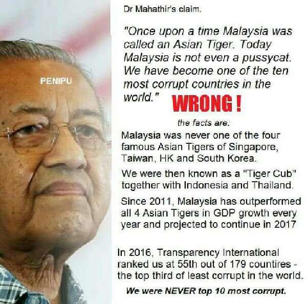 Mahathir Pembohong! Malaysia Tidak Pernah Di Panggil Asian Tiger Selama 22 Tahun Dia Jadi PM Dan Sekarang Kedudukan 57/179 Indeks Persepsi Rasuah