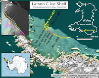 The current location of the rift on Larsen C, as of May 31 2017.  (Credit: Project MIDAS) Click to Enlarge.