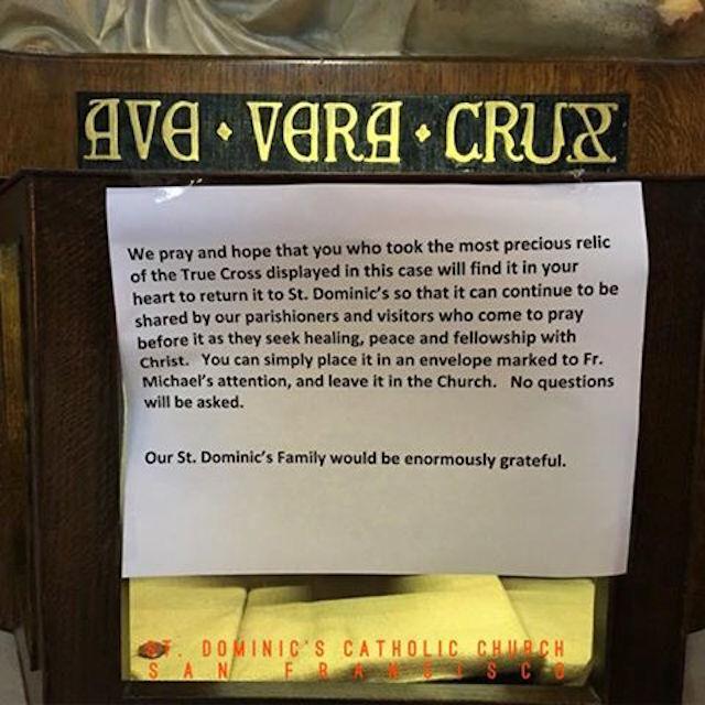Relikui Potongan Asli Salib Yesus Kristus di Gereja Katolik San Francisco Hilang Dicuri