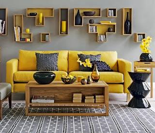 sala amarillo y negro