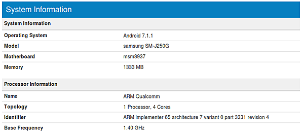 The New Samsung Galaxy J2 Model Appears On The Benchmark Website