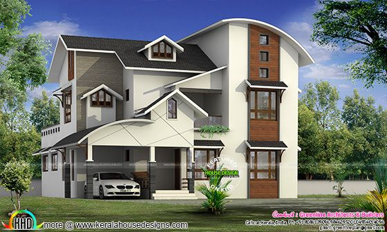Modern curved roof house