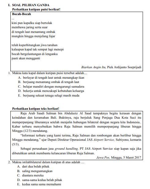 Soal Latihan USBN Bahasa Indonesia Sekolah Menengan Atas Tahun  Pelajar Indonesia SOAL LATIHAN USBN BAHASA INDONESIA  Sekolah Menengan Atas TAHUN 2018