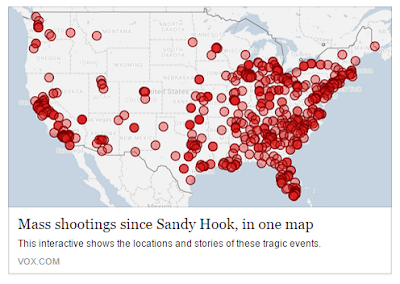 US Map with red circles for each mass shooting since Sandy Hook provided by VOX.com