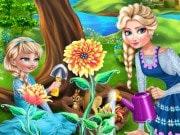 Juega a los mejores juegos de Frozen para chicas gratis en línea, disfruta de Elsa en una divertida tarde de jardinería con su pequeña hija. El invierno está llegando a su fin en Arendelle y Elsa puede enseñar a su hija los secretos en jardinería, especialmente como plantar las flores mágicas. Juega con Elsa y su hija en el jardín real y averigua cómo Elsa se ocupa de sus flores.