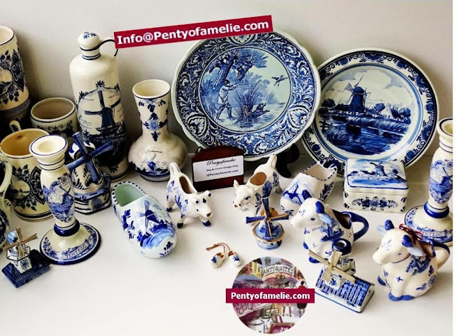 Authentic Holland delft blue pottery signed. Vintage Delfts blauw plates, vases, mugs, jugs, shoes, windmills