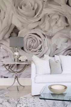 blommig tapet svartvit ros fototapet rosor