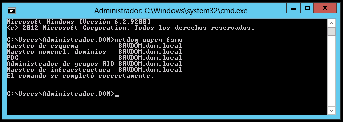 Comando netdom query fsmo