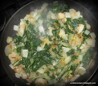 Collard greens, stir-fried with onions and garlic