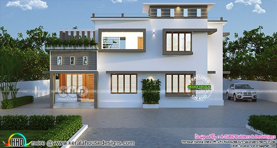 Simple modern flat roof 2223 sq-ft 4 BHK house