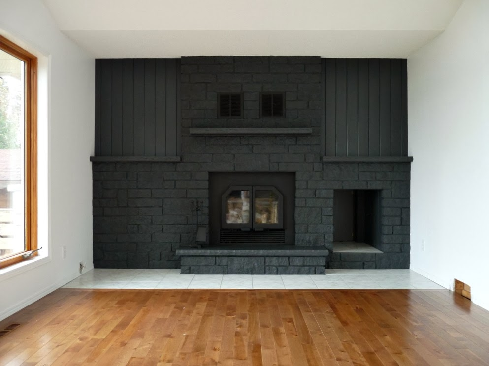 How to Easily Paint a Stone Fireplace (Charcoal Grey ...