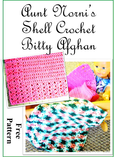 Simple Crochet Shell mini-afghan pattern designed for Operation Christmas Child Shoeboxes.