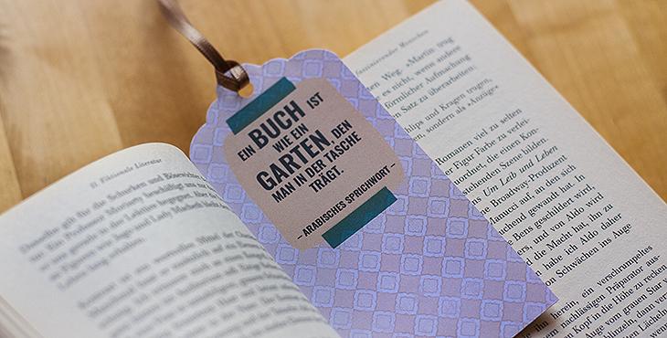 Lesezeichen mit Zitaten zum Thema Bücher und Lesen zum Downloaden. Gestaltung © fieberherz.de