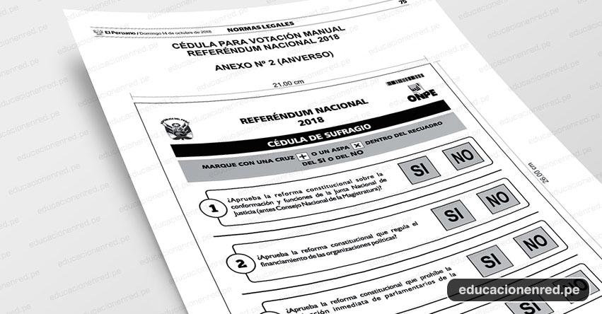 ONPE: Conoce el diseño de la cédula de votación para el Referéndum del 9 de Diciembre 2018 (R. J. N° 000206-2018-JN/ONPE) www.onpe.gob.pe