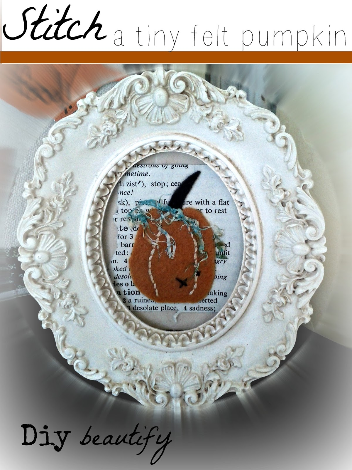 DIY framed pumpkin at www.diybeautify.com