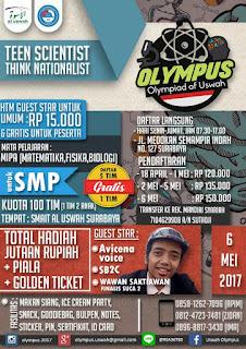 Informasi Lengkap Lomba Olympus 2017 by SMA-IT Al Uswah Surabaya Terbaru Deadline 5 Mei 2017