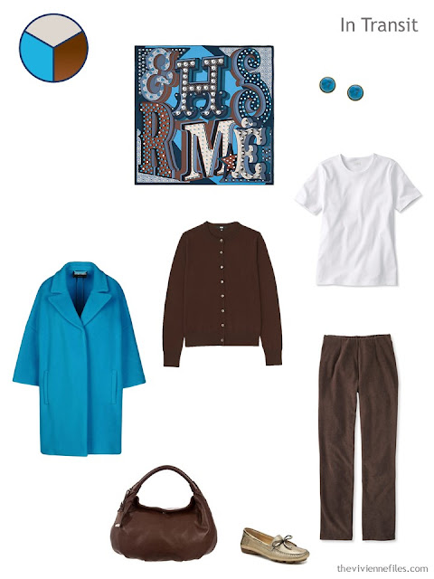 travel outfit in blue and brown