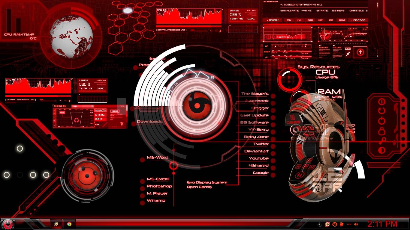 rainmeter hacker skin red