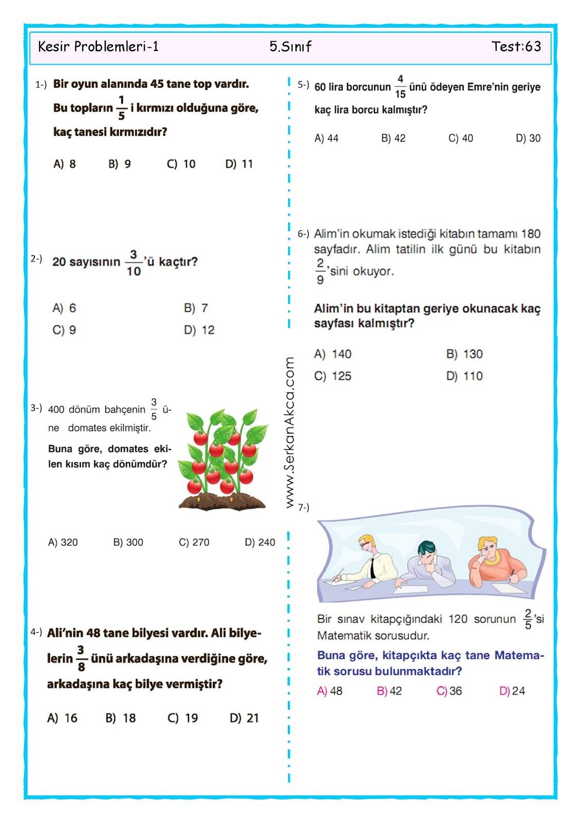 5 Sinif Kesir Problemleri 1 Serkan Akca Matematik