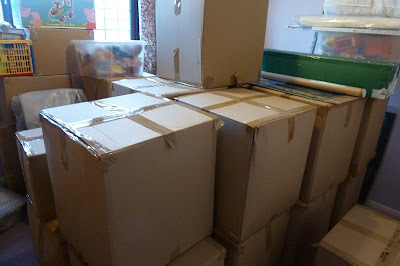 Boxes packed up for moving house