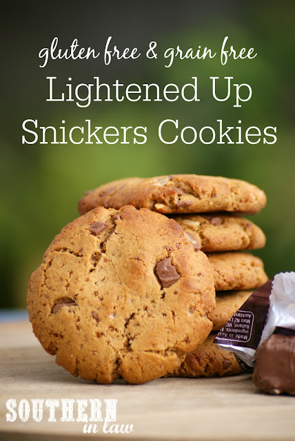 Gluten Free Lightened Up Snickers Cookies Recipe - low fat, low sugar, refined sugar free, flourless, grain free, gluten free, healthy, homemade snickers peanut butter cookies