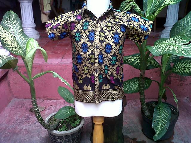 Kemeja Batik Anak Motif Bali Prada Hitam