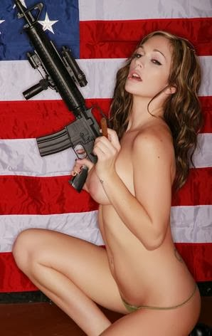 American girl nude with a gun