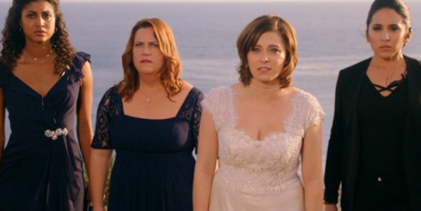 Heather, Paula, Rebecca, and Valencia, cliffside, after Josh leaves Rebecca at the altar.