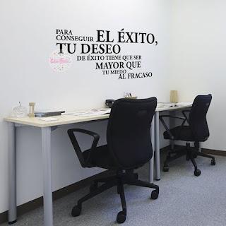 vinilo decorativo oficina sala comedor frase exito