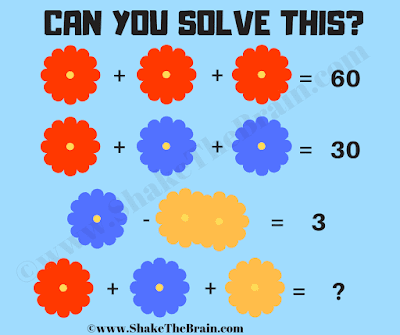 In this Flowers Math Picture Puzzle, you challenge is to solve given equations and then find the value of the missing number