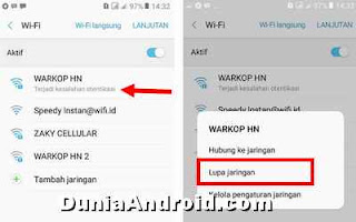 cara melupakan jaringan wifi android