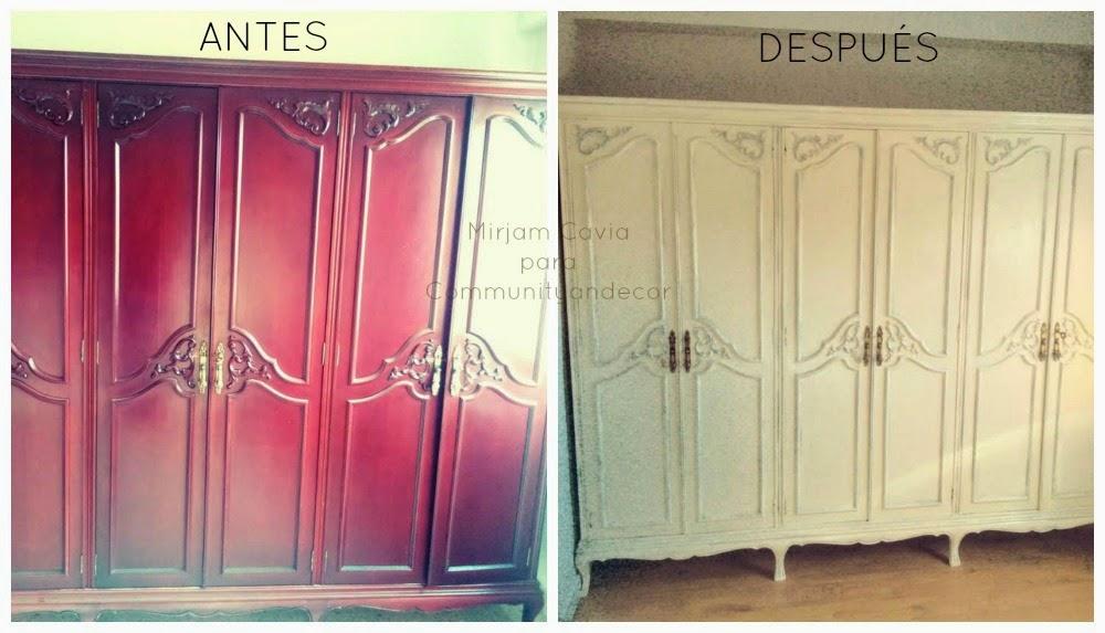 Antes y despu s de un armario reciclado hacer bricolaje - Como empapelar un armario ...