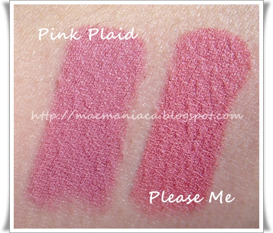 #MAC #lipstick collection and swatches in Lady danger ...  Mac Pink Plaid Vs Please Me