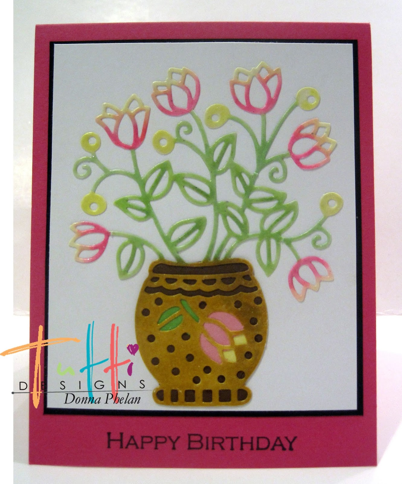 Tutti designs birthday flowers layered it on to white card stock and then black stamped my happy birthday sentiment on my pink base and layered them all together izmirmasajfo