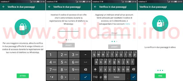 WhatsApp attivare verifica in due passaggi