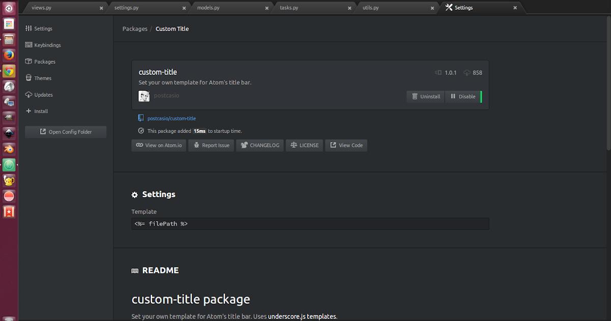 Change Atom's title bar text using custom-title plugin