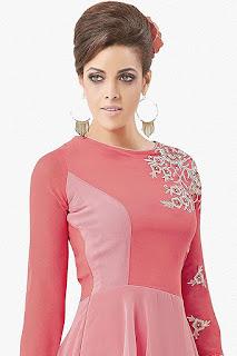 Georgette Designer Pink Kurti by FashionDiya