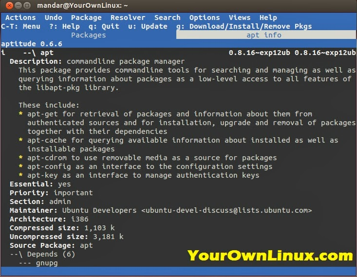 Aptitude : Package Management in Debian Based Operating