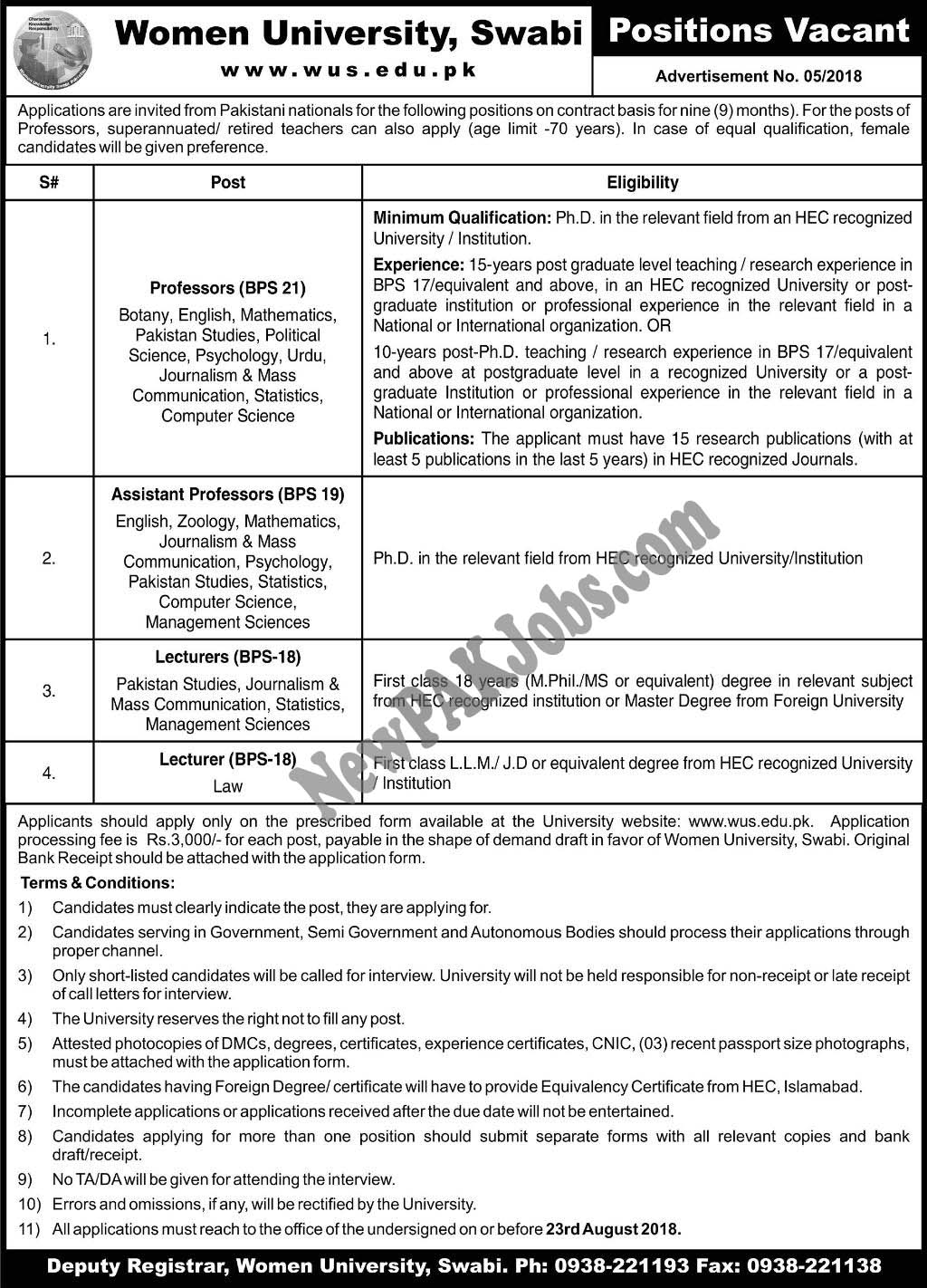 Women University Swabi Latest Jobs 2018 www.wus.edu.pk