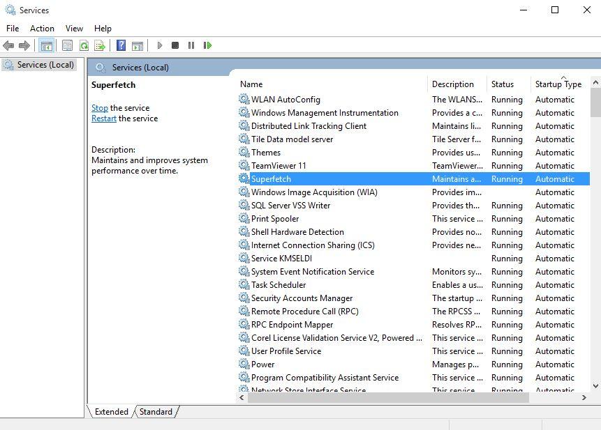 Menonaktifkan service Windows 10