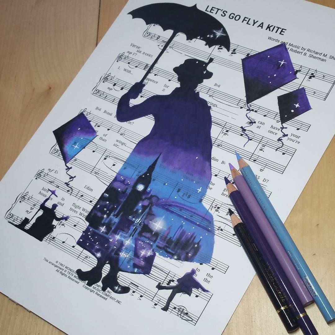 07-Mary-Poppins-Julie-Andrews-Ursula-Doughty-Animated-Movies-Drawn-on-their-Music-Scores-www-designstack-co